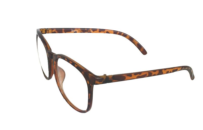 08a2d3cef31f 149 kr Rund brille uden styrke i skildpaddebrun. Unisex model til kinder og  mænd. 149 kr