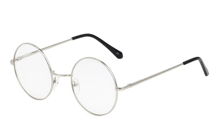 S3394 Rund brille med klart glas uden styrke. Brillen er til