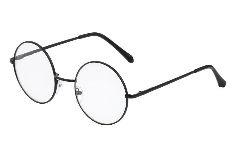 476563948 S3395 Sort rund brille med klart glas uden styrke