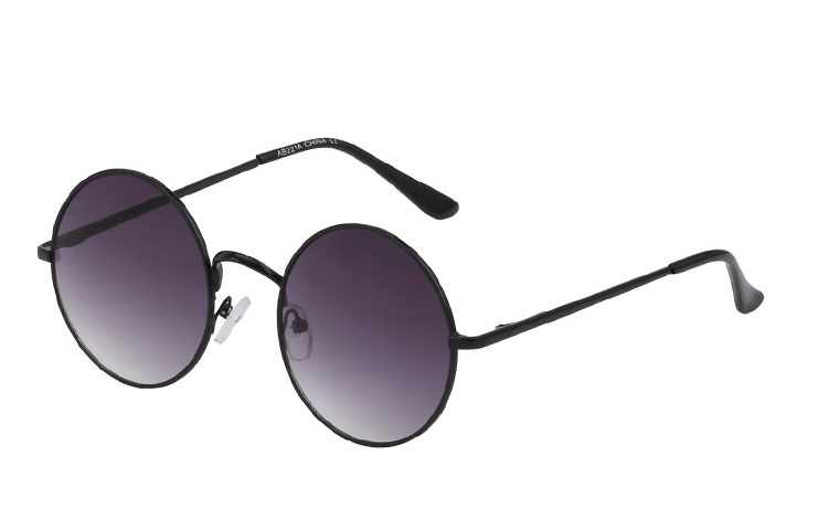 Norges billigste solbriller Rund sort solbrille i enkelt