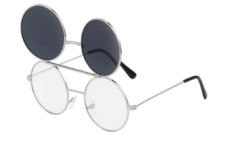 Sølvfarvet rund metal brille med klart glas uden styrke med