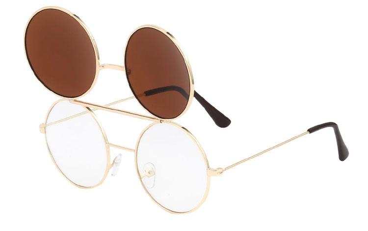 Norges billigste solbriller Guldfarvet rund metal