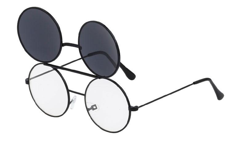 S3462 Sort rund metal brille med klart glas uden styrke med