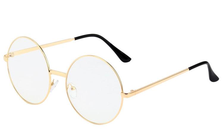 83f63387c S3520 STOR rund brille med klart glas uden styrke i guldfarvet stel.