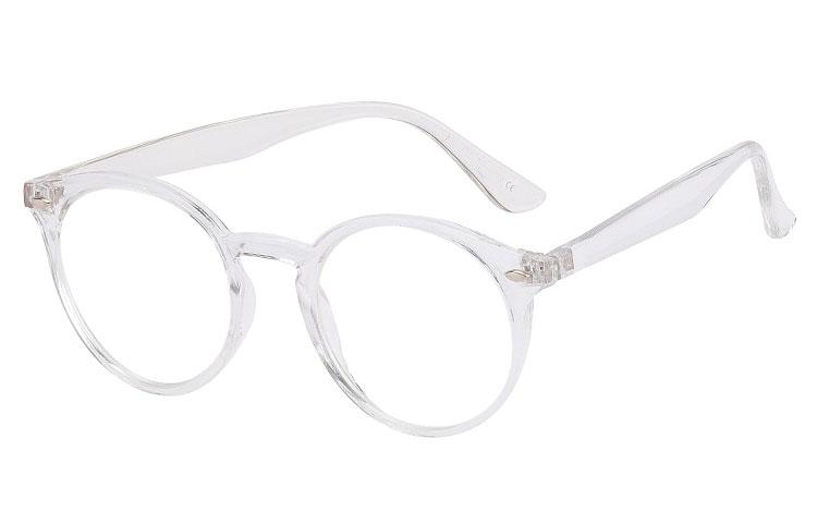 1ead0def0 Rund brille med klart glas uden styrke, i klart gennemsigtigt design ...