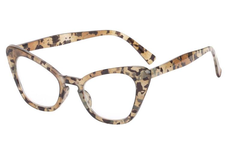 2382b60f9 S3577 Fræk brille med klart glas uden styrke i lys skildpadde ...