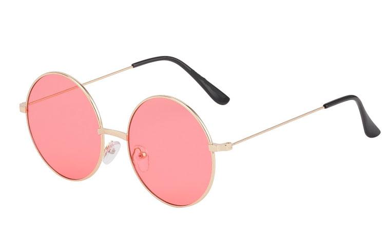 Norges billigste solbriller Rund metal solbrille med koral