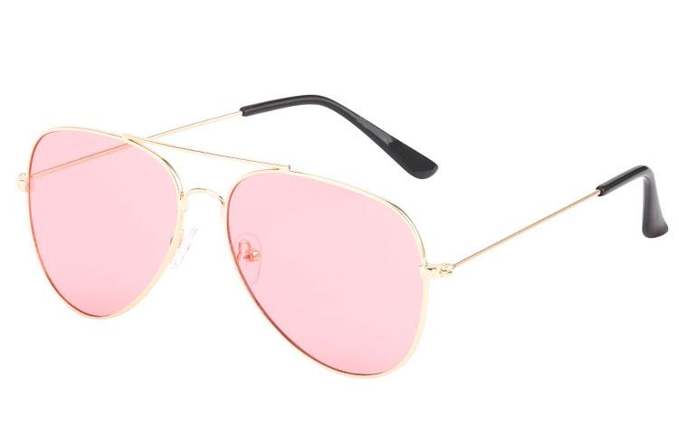 dceb10c44f7f Guldfarvet aviator solbrille med lyserøde glas - Design nr. s3588 i ...
