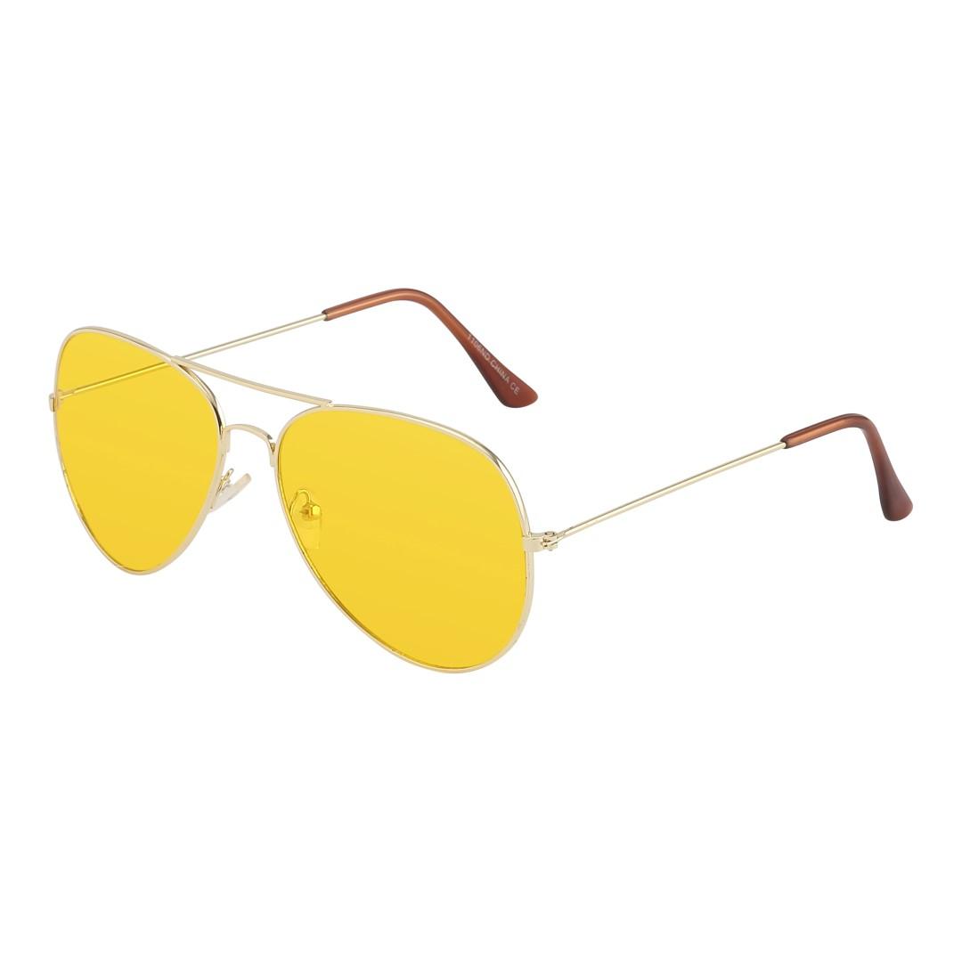 2832d723e0e2 Aviator   pilot solbrille i guld med gult glas - Design nr. s1063 i ...