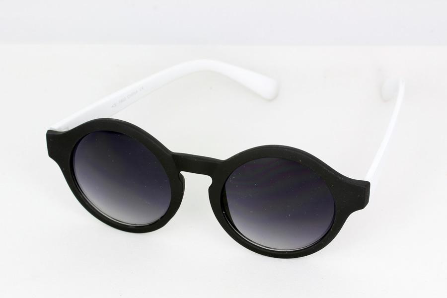 261c5de7521e Sort og hvis rund mat solbrille i rundt design - Design nr. s1126 i ...