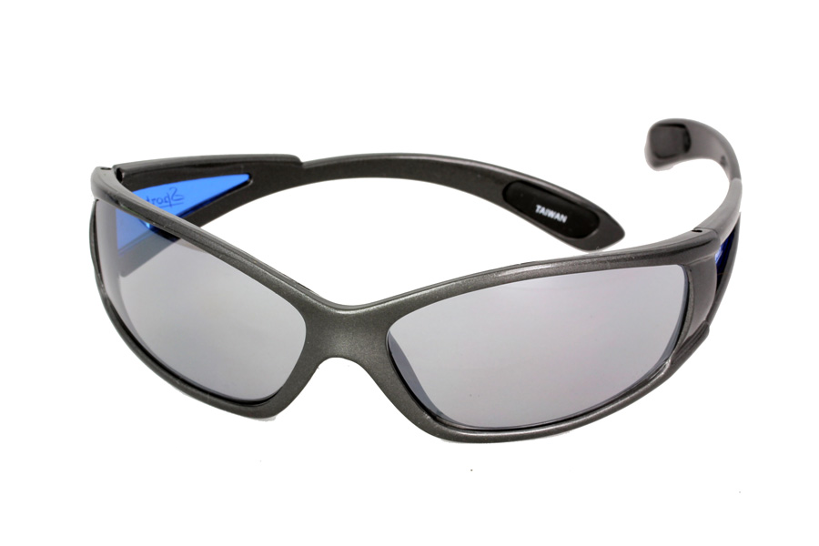 cc0f0ea7e7b Mørk løbe / sport solbrille med blå sider - Design nr. s1134 i ...