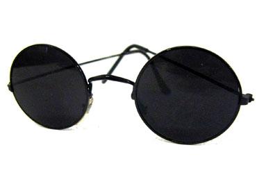 Norges billigste solbriller Runde solbriller i sort metal