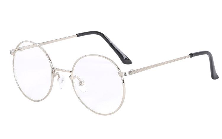 Ss3623 Moderne rund brille i sølvfarvet metal stel, med