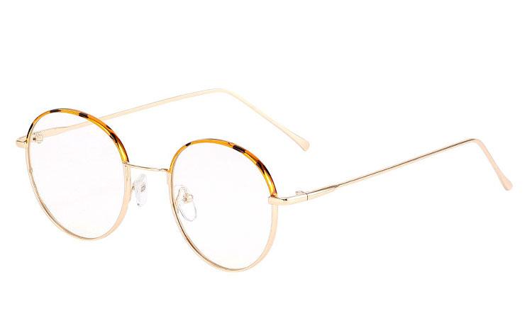 99dc294a0d83 Billig Moderne guldfarvet metal brille med leopard print øverst. - Sveriges  billigaste solglasögon