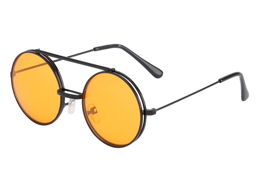 Brille i sort metal stel med flip-up solbrille med orange glas.  | klar_glas_briller
