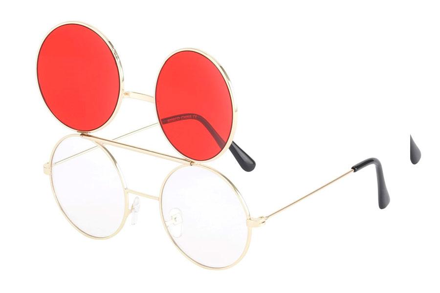 Ss3729 Brille i guldfarvet metal stel med flip up solbrille