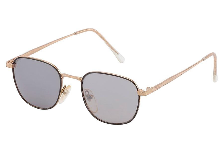 97f5bb224916 Billig Firkantet solbrille med runde former i sort og guldfarvet metal ste  - Norges billigste solbriller
