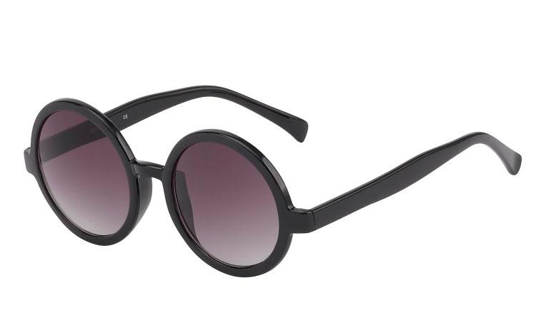 3e31faad08cc Stor rund solbrille i sort. Hippie vintage look. - Design nr. s385 i ...
