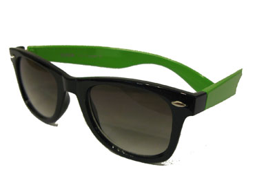 Wayfarer solbrille. Sort m/ neon grøn | search