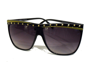 Solbrille m/ nitte design øverst. Sort m/ guld | search