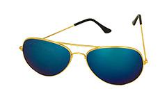 Guldfarvet aviator solbrille med blåt spejlglas - Design nr. 3230 7c2adada088de