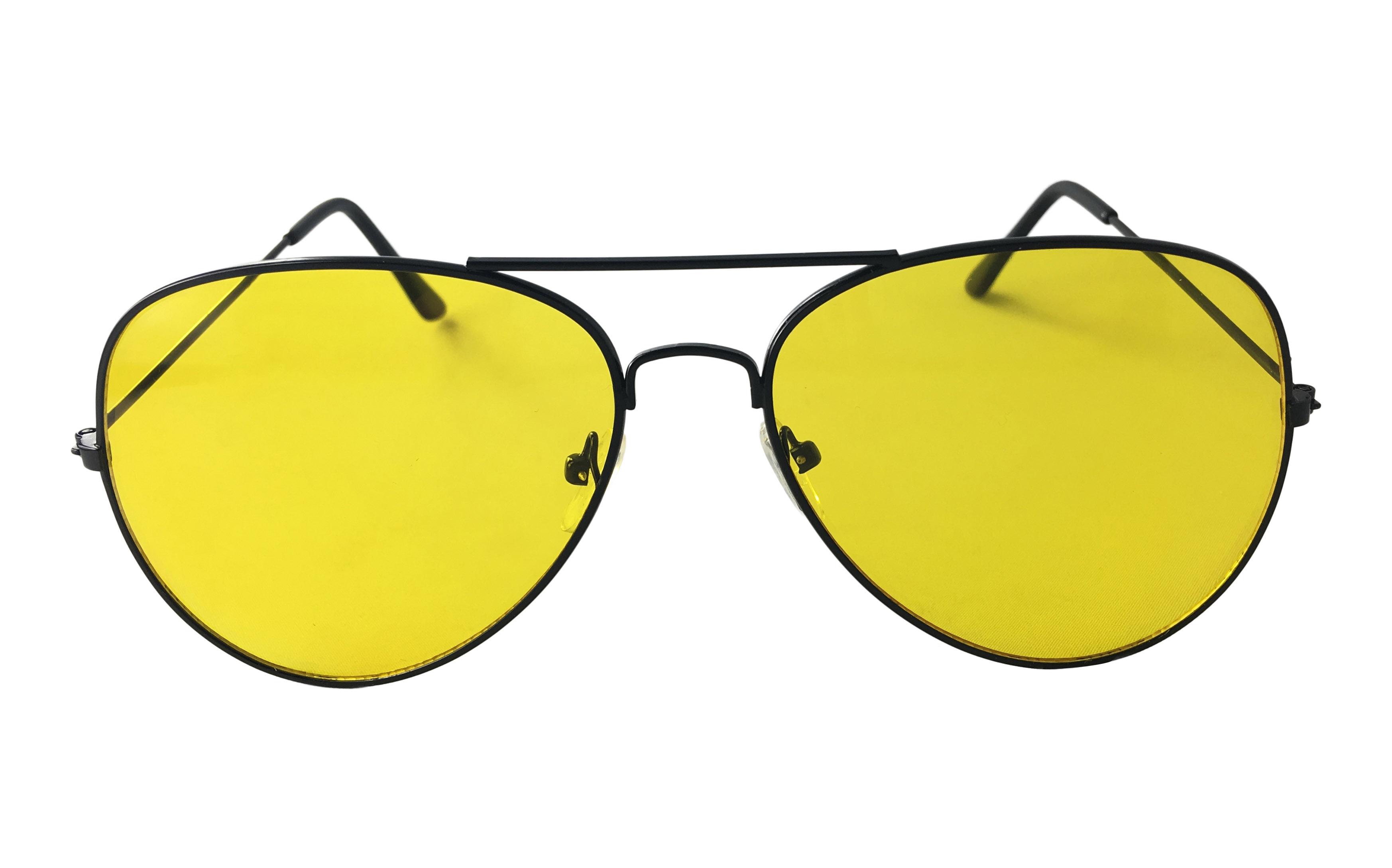 361d792dc7c8 Sort aviator solbrille med gult glas ( Natbrille ) - Design nr. 3294