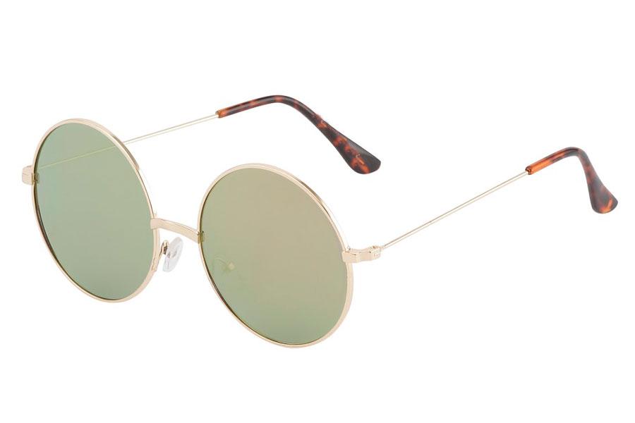 STOR Fed solbrille i guldfarvet metalstel med FLADE lyserød-grønlig  changerende linser. - Design 607354291a792