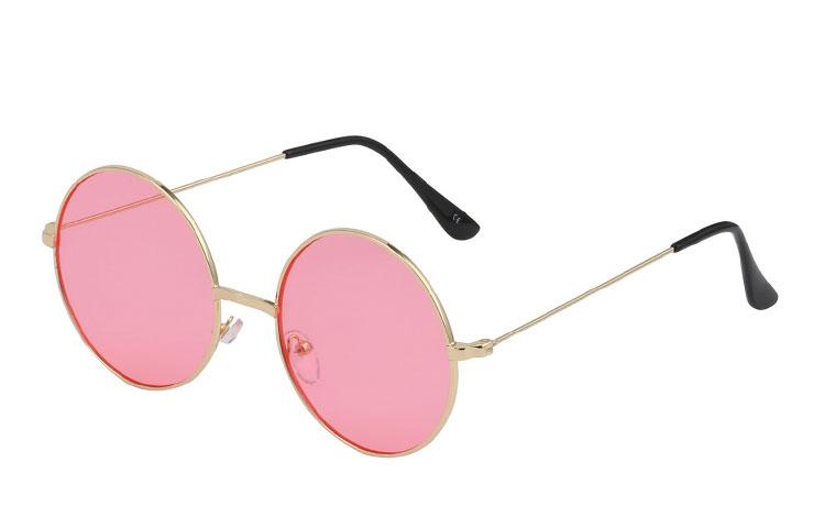 6de5b80e17b4 Stor rund metal solbrille med lyserøde glas - Design nr. 3437