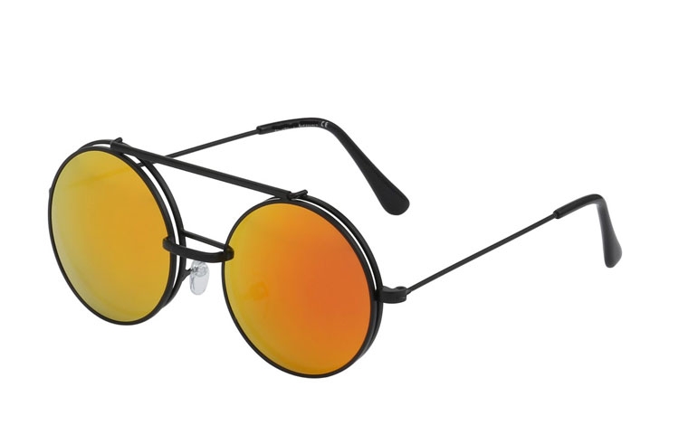 Sort rund metal brille med flip up solbrille - Design nr. 3456