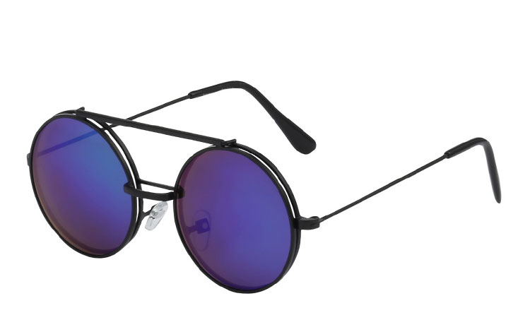 Sort rund metal solbrille med flip up solbrille - Design nr. 3460