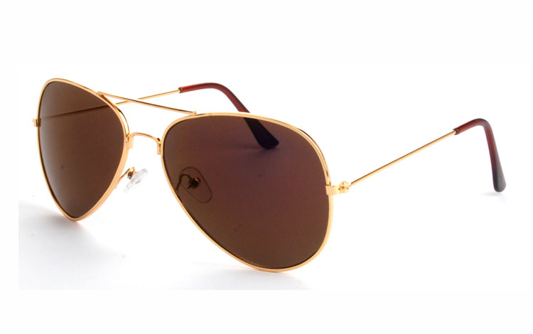 475bea807463 Klassisk pilot solbrille med grå-brune glas - Design nr. 3478