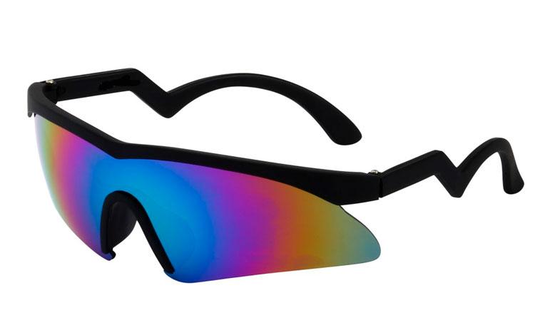 ec94674e184d Retro skibrille i sort mat stel med multifarvet spejlglas - Design nr. 3510