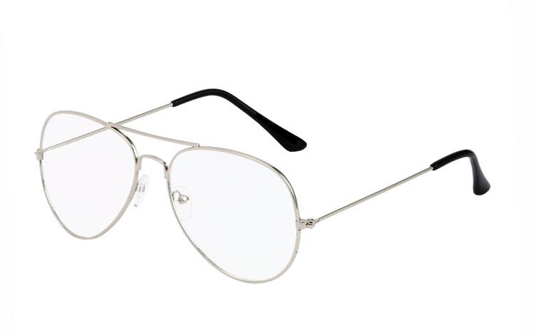 Sølvfarvet aviator   dråbe brille med klart glas - Design nr. 3517 270e41475d40c