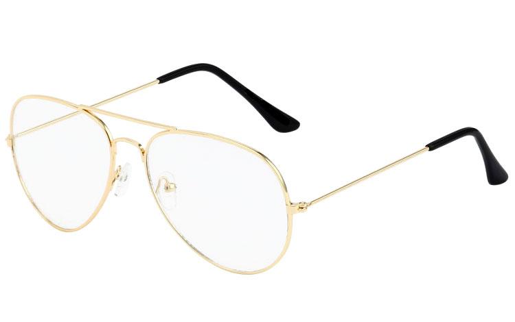 5d65bc73123 Aviator / dråbe brille i guldfarvet stel med klart glas uden styrke -  Design nr.
