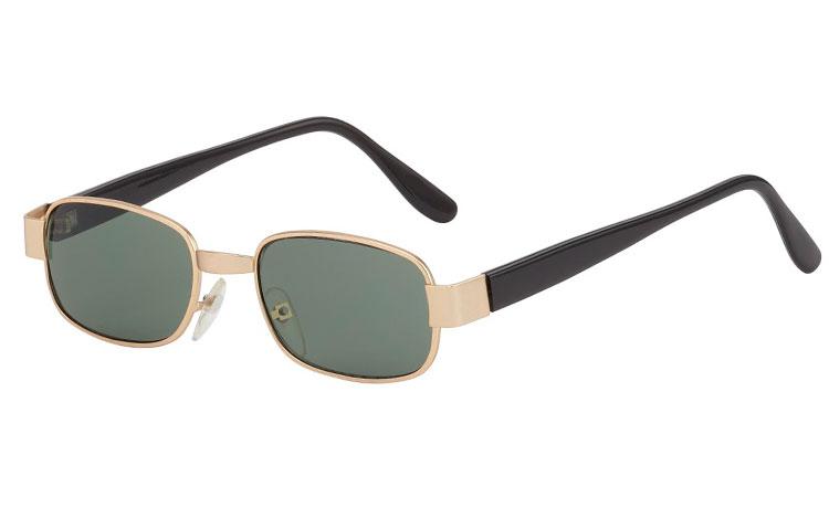 a1ed8ebef91f Firkantet solbrille i guldfarvet metal stel - Design nr. 3565