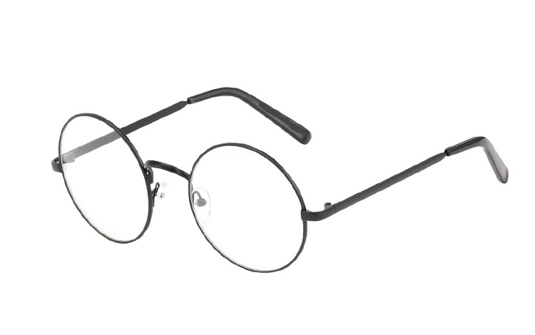 Rund metal brille i mat sort stel - Design nr. 3586