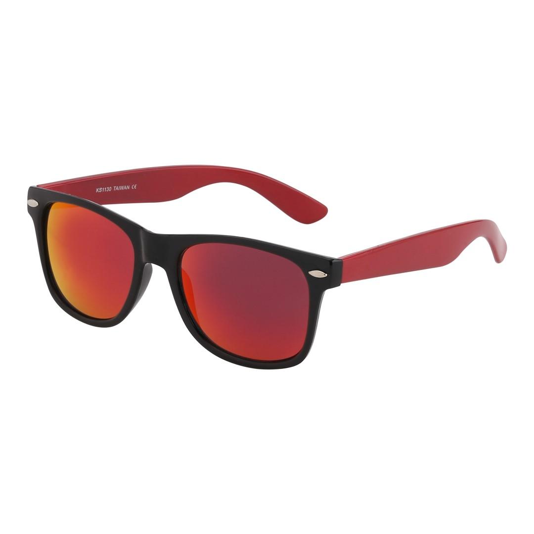 dd98d6899021 Tilbud. Wayfarer i mat sort med røde stænger og multiglas - Design nr. 1065