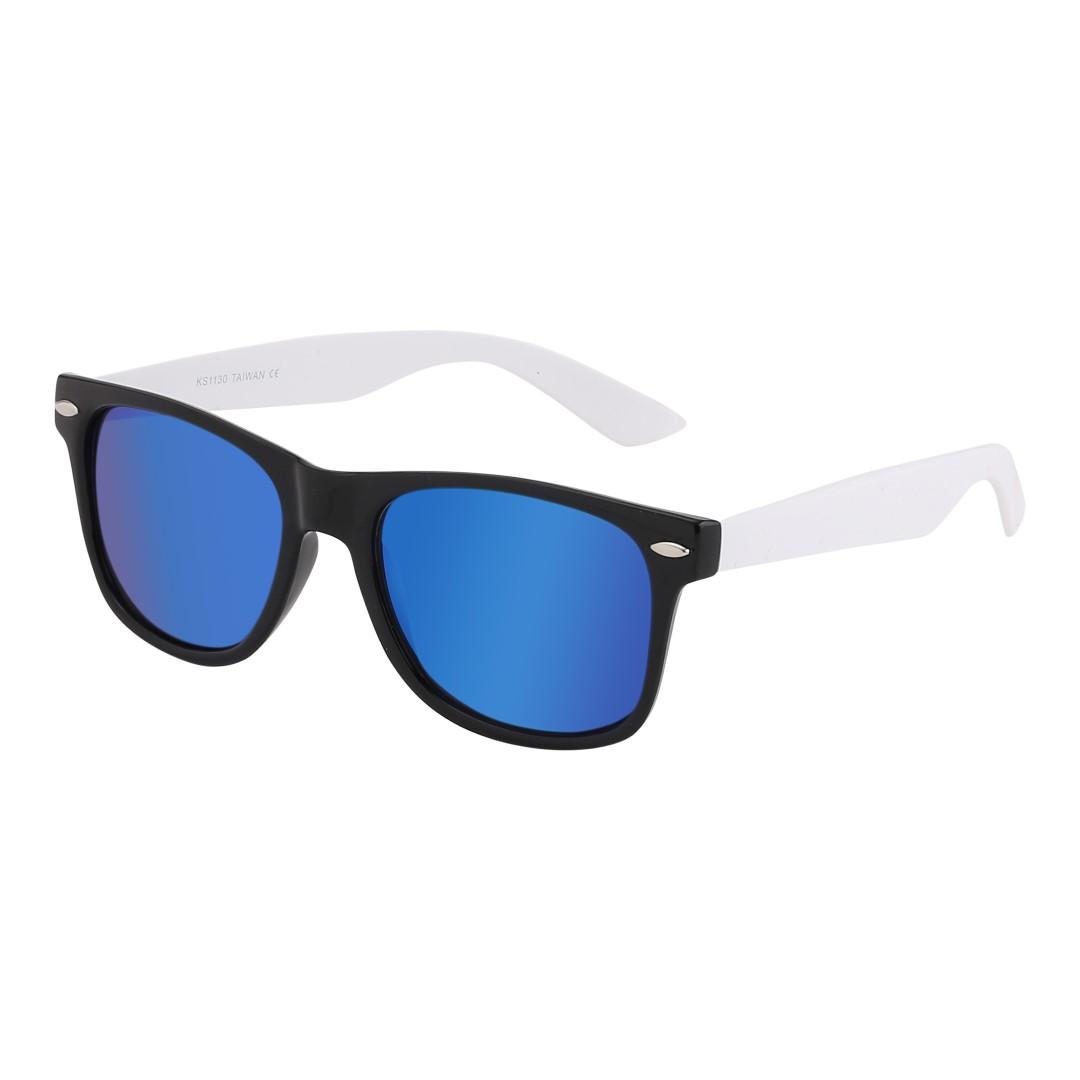 81681336c52a Mat sort wayfarer solbrille med hvide stænger og multiglas - Design nr. 1066