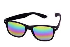 c913b6dc2bb2 Sort mat wayfarer solbrille med multifarvet spejlglas - Design nr. 1109