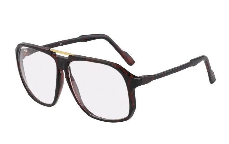 e19aeb57453f Mørk rødbrun brillen uden styrke i stort oversize design - Design nr. 3345