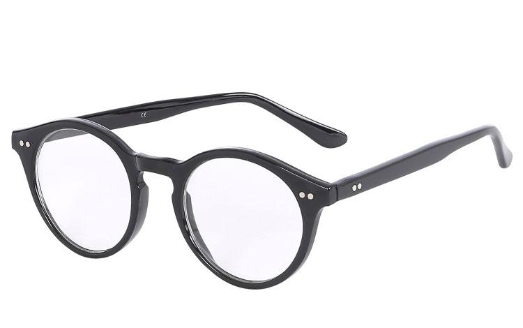 8a2a1816cf96 Sort brille uden styrke i rundt og enkelt design - Design nr. 3591