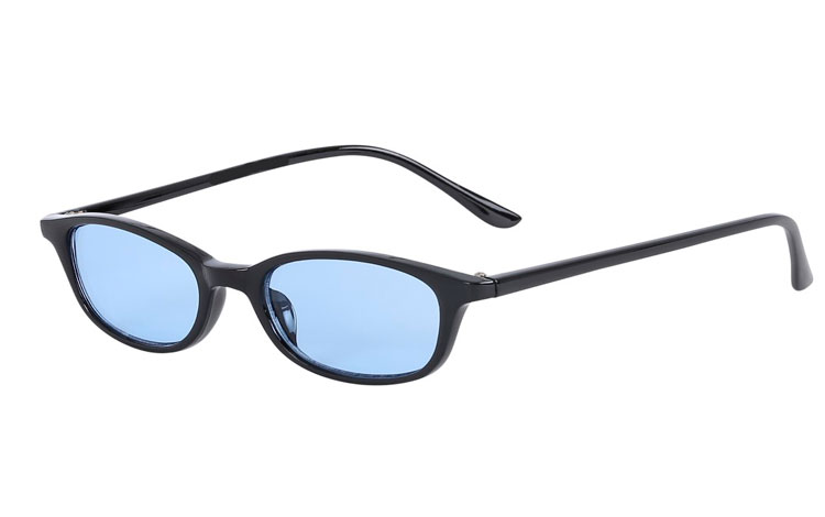 77ec3e8b3a9b Smal sort solbrille med lyseblå glas - Design nr. s3612