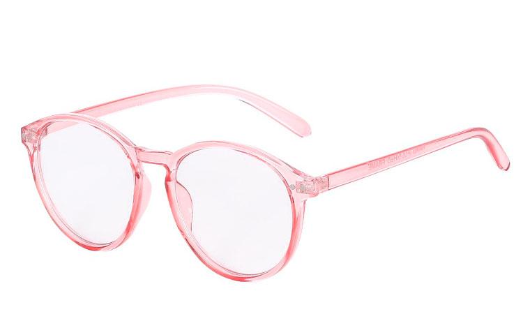 90390218ce0b Moderigtig rund brille med klart glas i transparent lyserødt stel - Design  nr. 3628