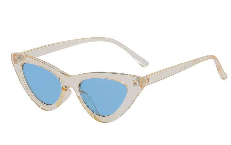 Fræk lysegul cateye   katteøje solbrille med blå glas - Design nr. 3679 7ad75eee719d2