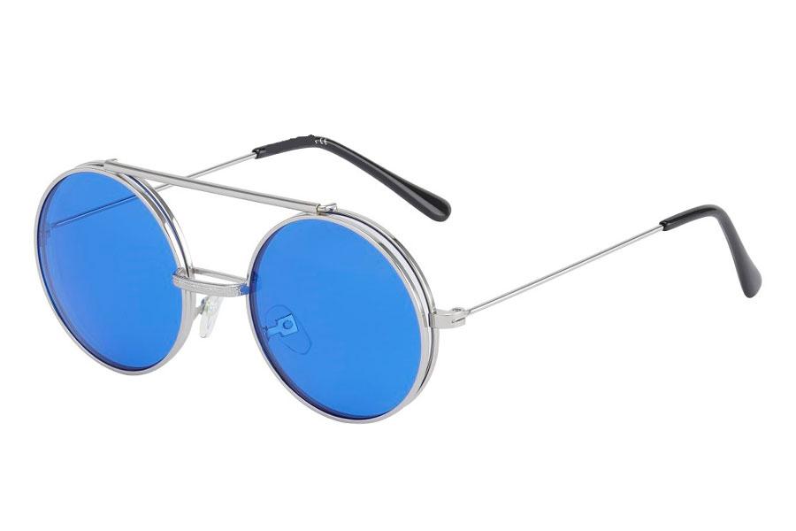 69e5b2e77932 Sølvfarvet brille med flip-up solbrille med blå glas. - Design nr. s3730