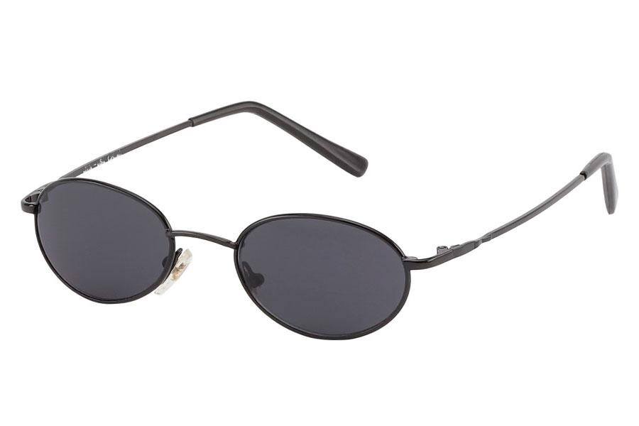 ad4c27d5e1ab Oval unisex solbrille med mørkt glas. Sort og enkelt stel design. - Design  nr