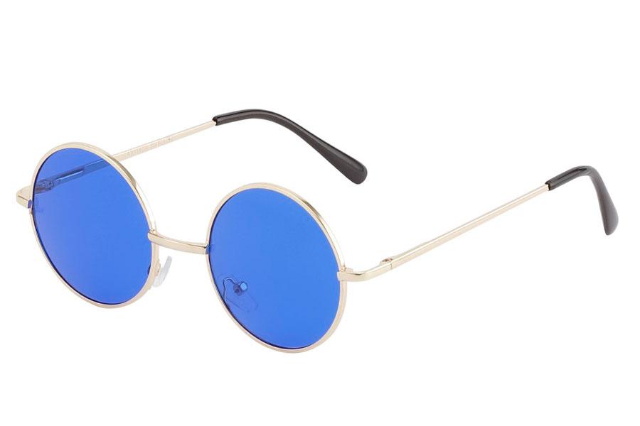 f0011fa3447f Rund lennon brille i guldfarvet metalstel med mørkeblå linser. - Design nr.  3841