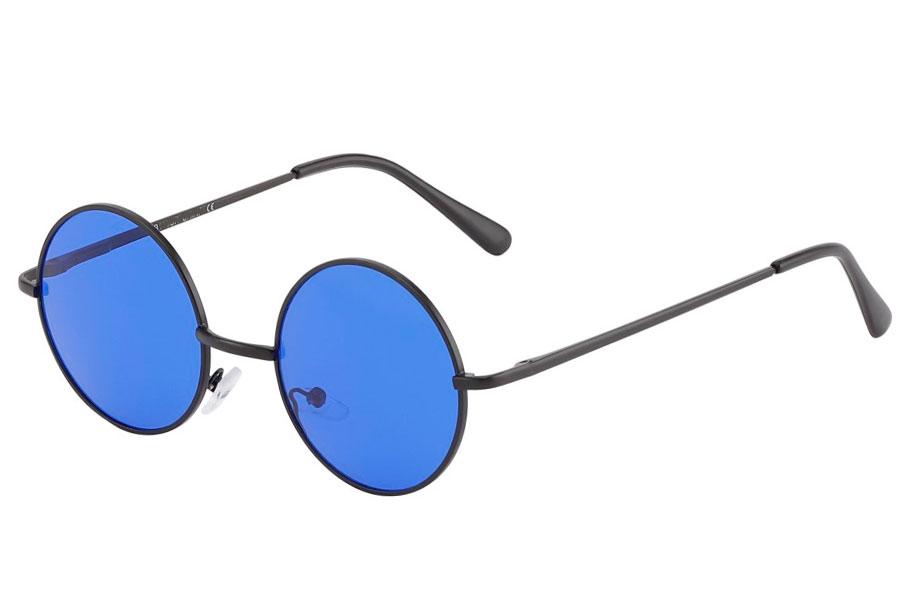 1fc4724ab285 Rund lennon brille i sort metalstel med mørkeblå linser. - Design nr. 3842