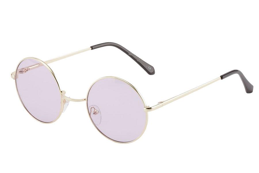 00ff30d42c67 Rund lennon brille i guldfarvet metalstel med lyse lilla linser. - Design  nr. 3854
