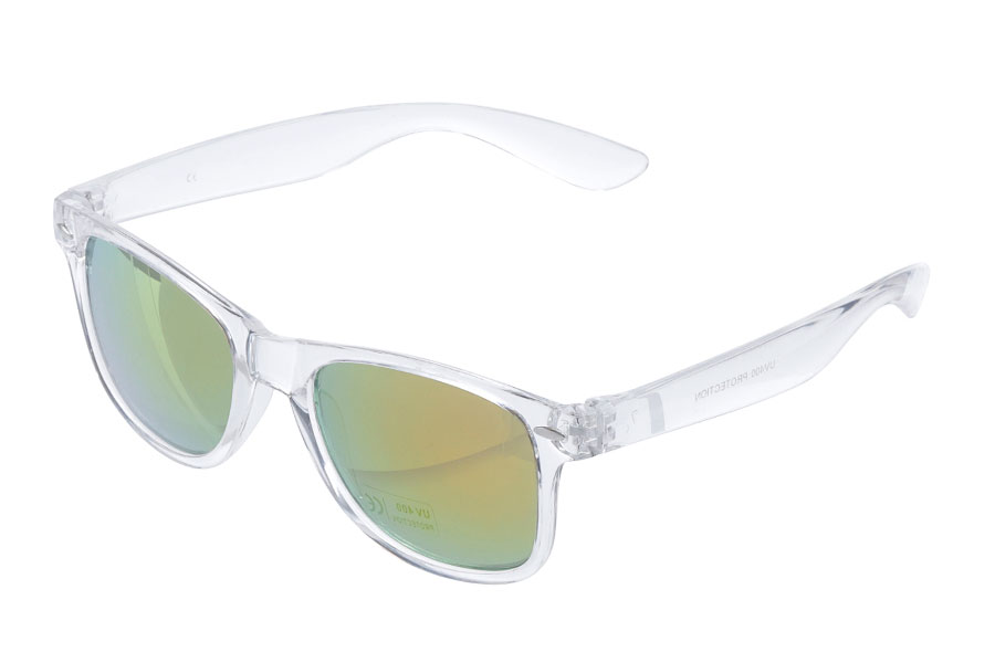 Wayfarer i transparent stel med gul-orange spejlglas - Design nr. s3860